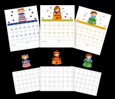 monthly girls calendar